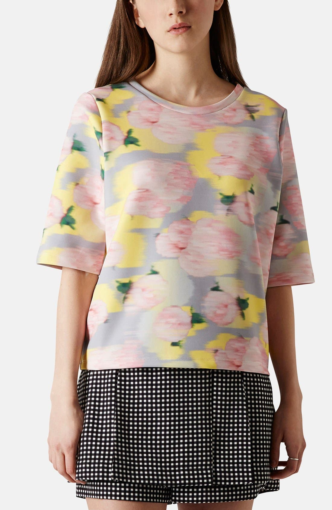 Alternate Image 1 Selected - Topshop 'Blurred Floral' Print Scuba Top