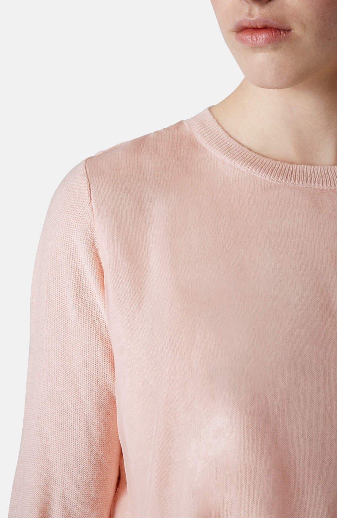 Alternate Image 4  - Topshop Organza Overlay Knit Sweater