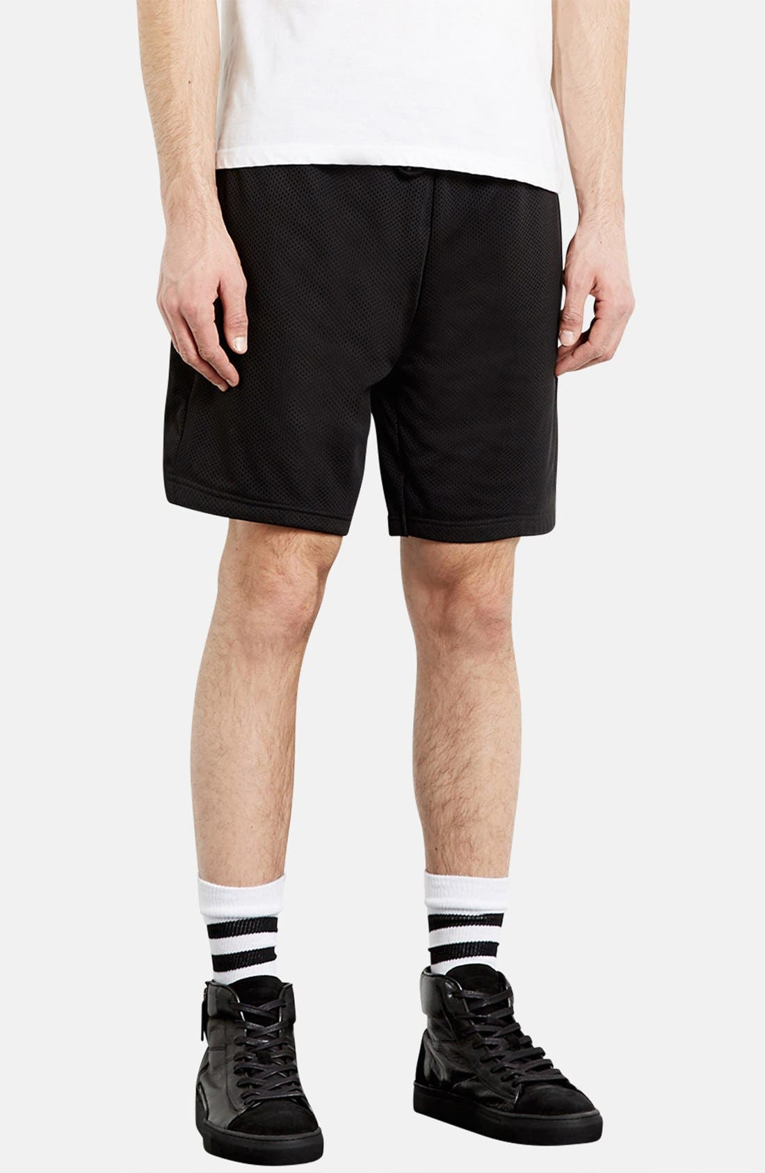 Alternate Image 1 Selected - Topman Trim Fit Mesh Shorts