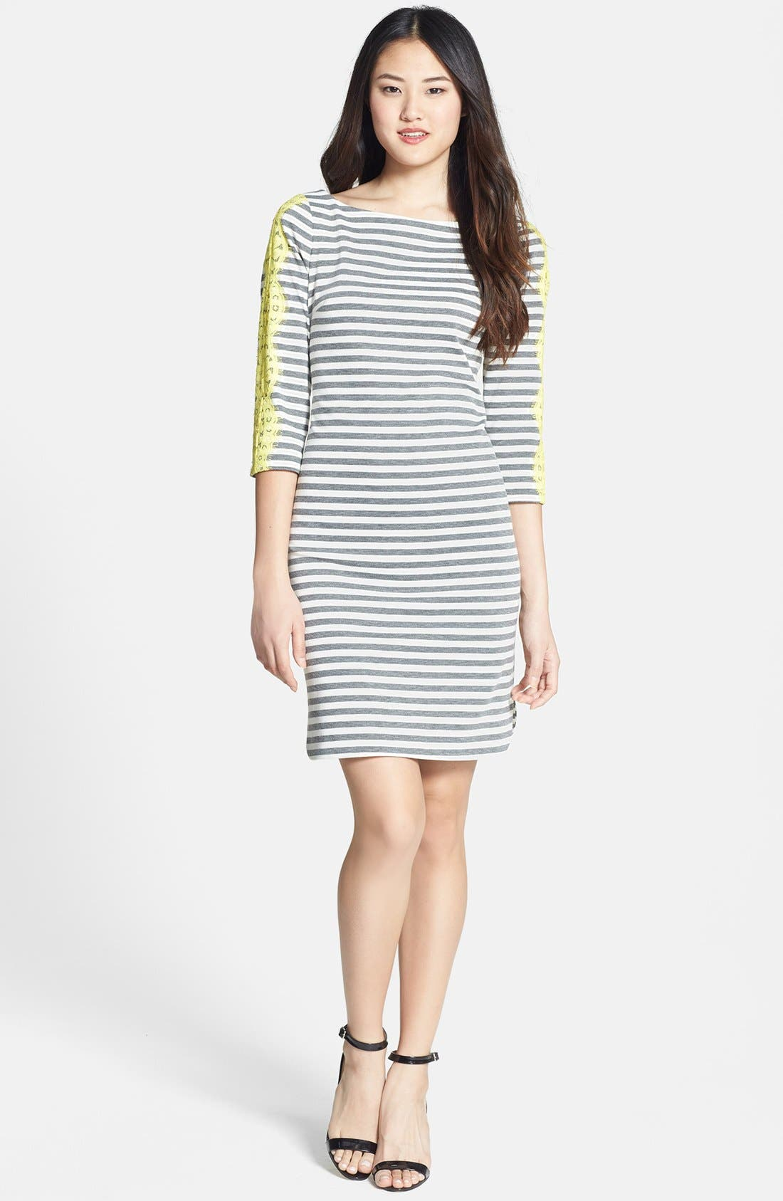 Alternate Image 2  - Eliza J Lace Detail Stripe Ponte Knit Shirttail Dress (Regular & Petite)