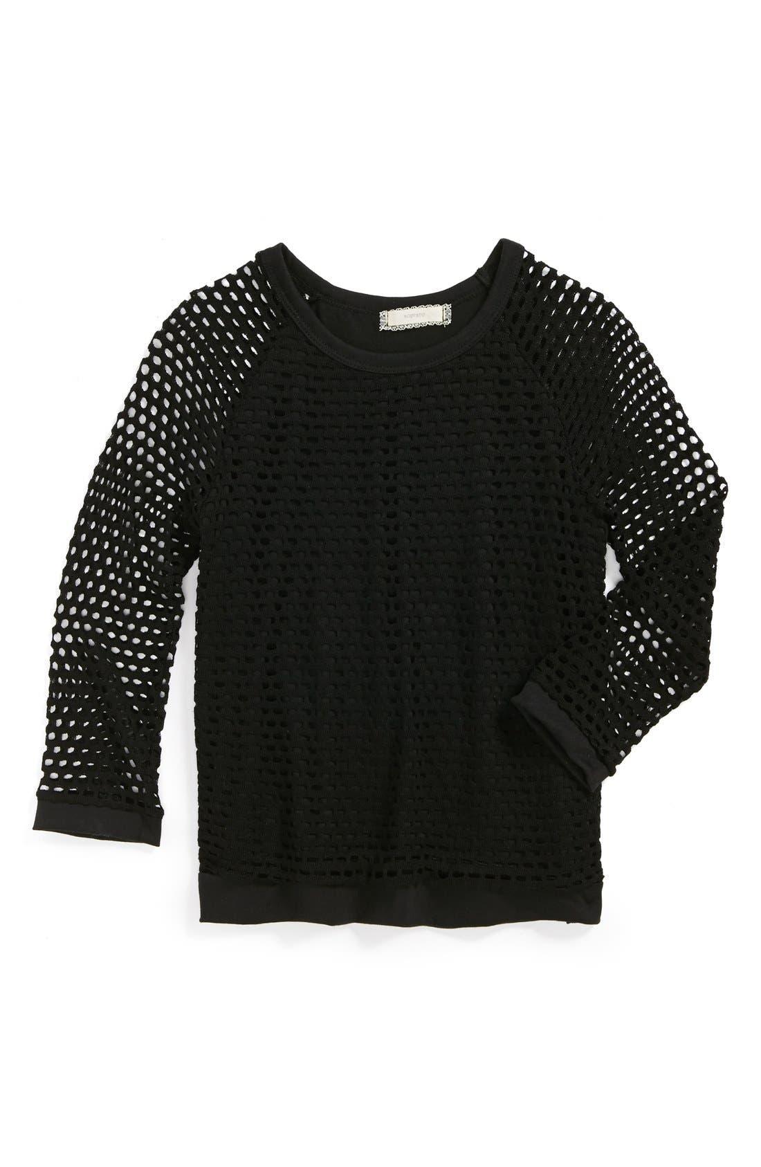 Alternate Image 1 Selected - Soprano Open Weave Sweater (Big Girls)