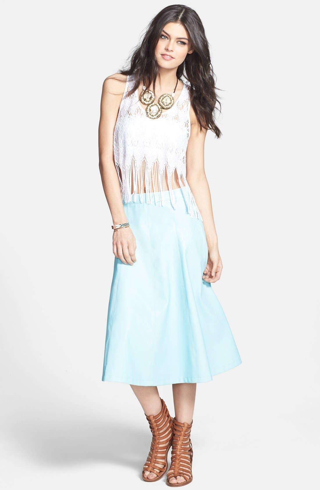 Alternate Image 2  - ASTR Faux Leather A-Line Midi Skirt