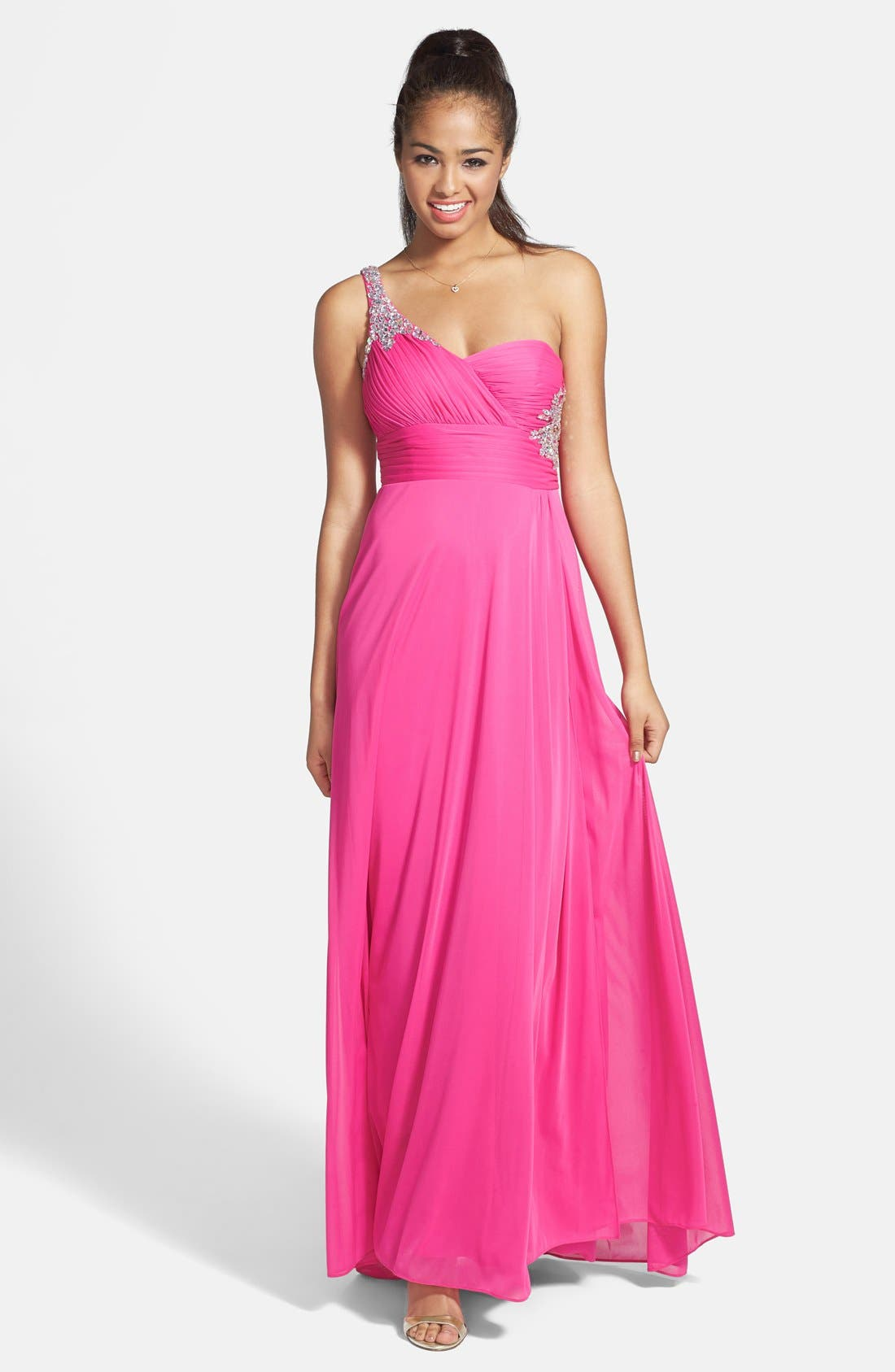 Main Image - Hailey by Adrianna Papell Embellished One-Shoulder Chiffon Gown