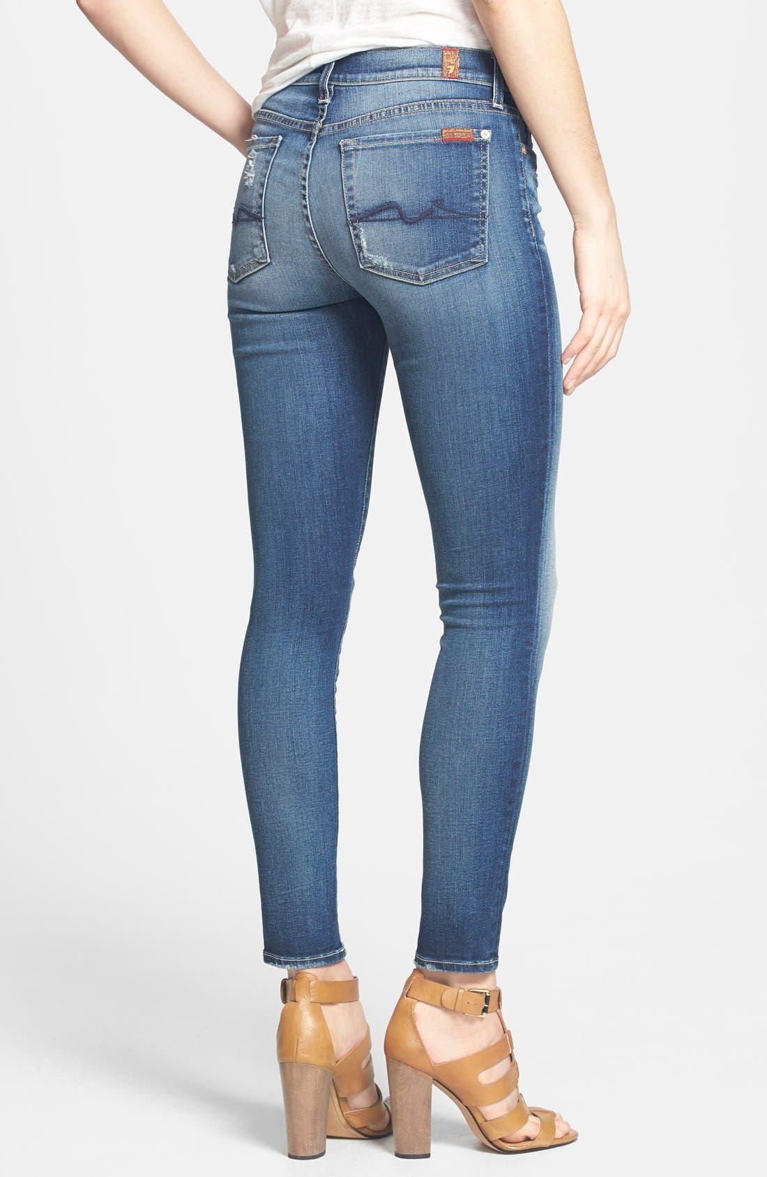 Alternate Image 2  - 7 For All Mankind® Ankle Skinny Jeans (Super Grinded Blue)