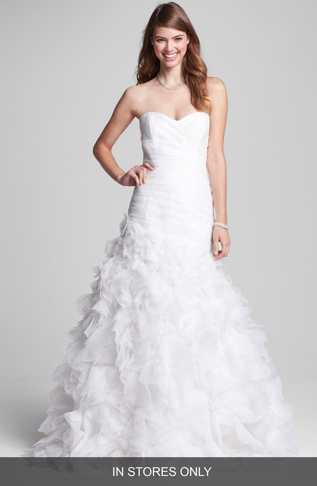 Main Image - BLISS Monique Lhuillier Ruffled Organza Mermaid Dress (In Stores Only)