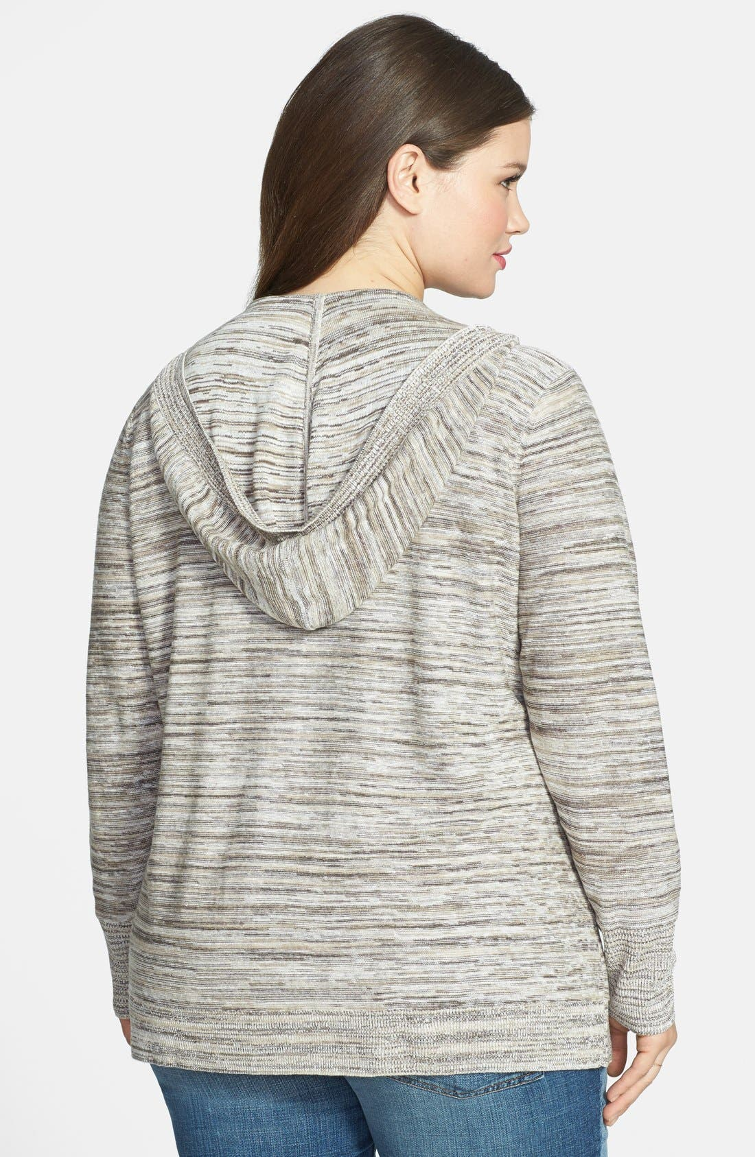 Alternate Image 2  - Sejour Space Dye Open Front Hooded Cardigan (Plus Size)