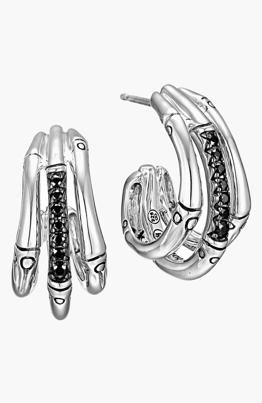 Main Image - John Hardy 'Bamboo - Lava' Pavé Sapphire Hoop Earrings