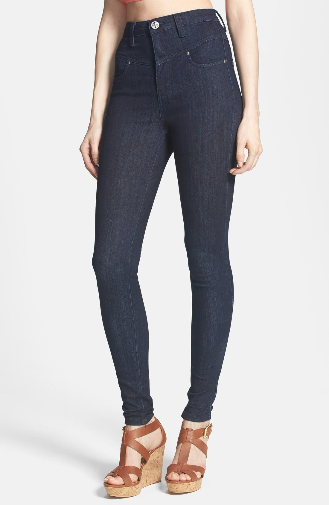 Alternate Image 1 Selected - STS Blue High Waist Skinny Jeans (Juniors)