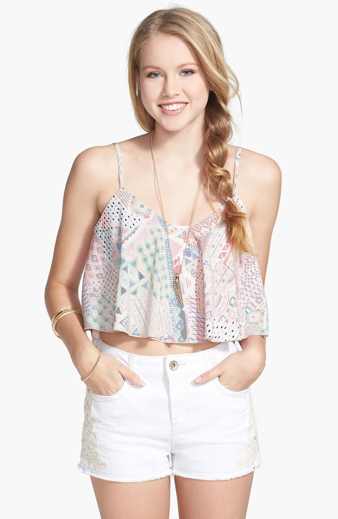 Alternate Image 1 Selected - Rossmore Print Crop Trapeze Tank (Juniors) (Online Only)
