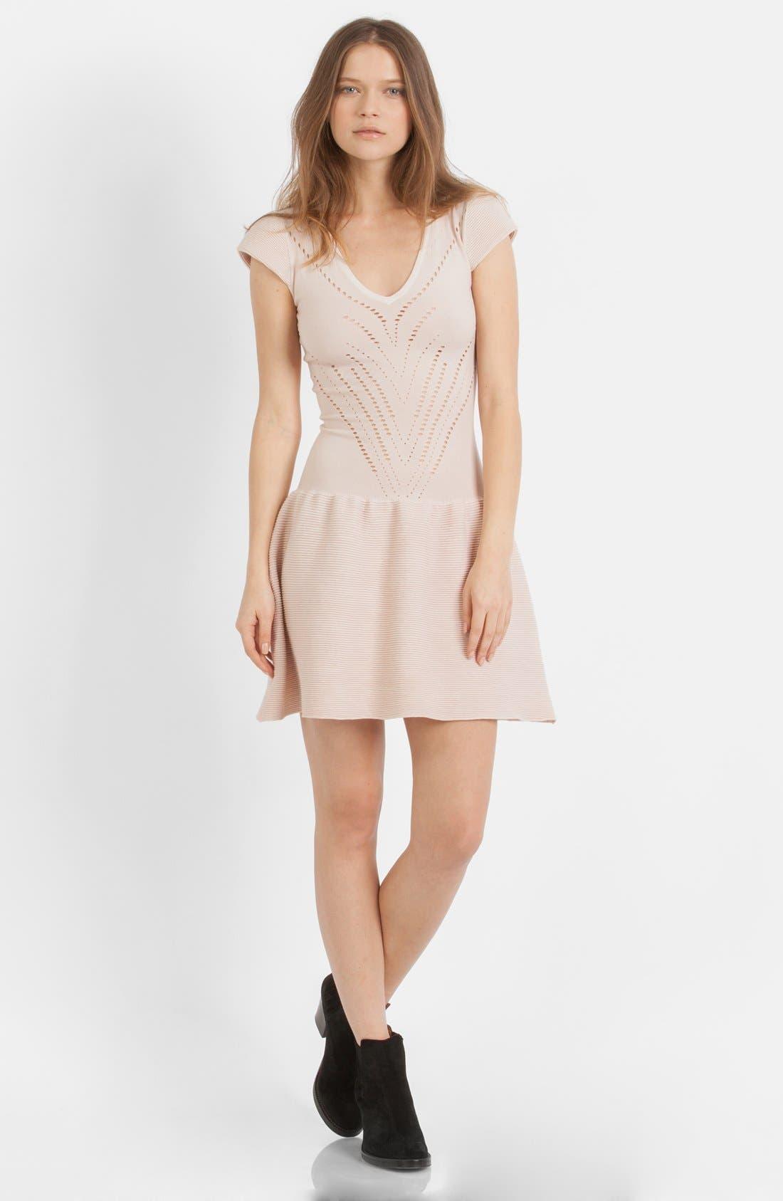 Main Image - maje 'Maille' Cotton Blend Fit & Flare Dress