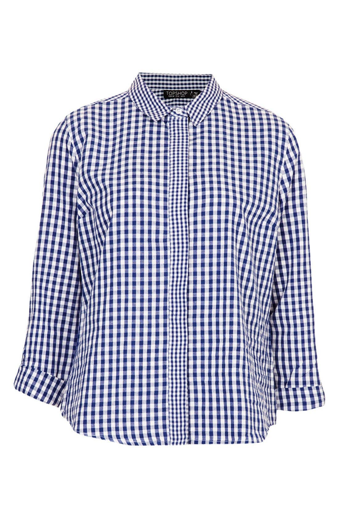 Alternate Image 3  - Topshop Mix Gingham Print Cotton Shirt