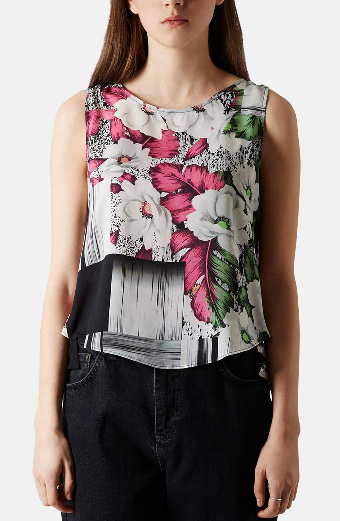 Alternate Image 1 Selected - Topshop Floral Grid Print Sheer Inset Shell