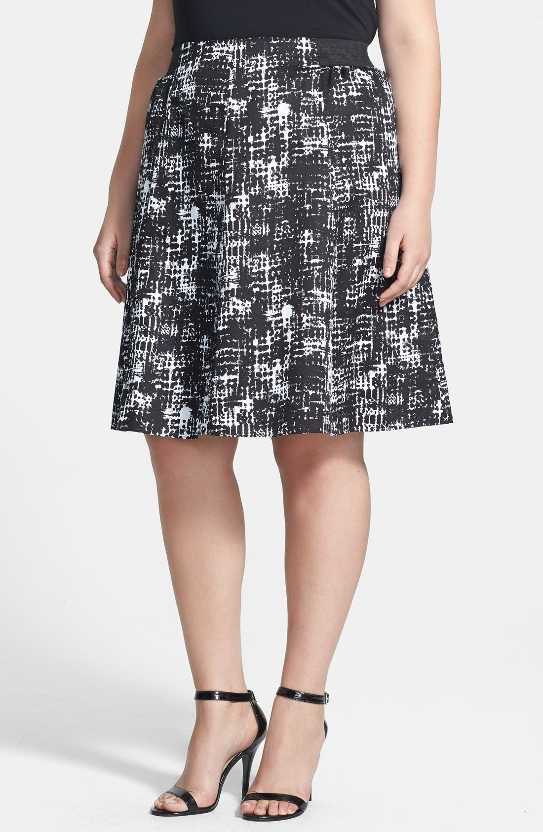 Main Image - Sejour Printed Cotton Sateen A-Line Skirt (Plus Size)