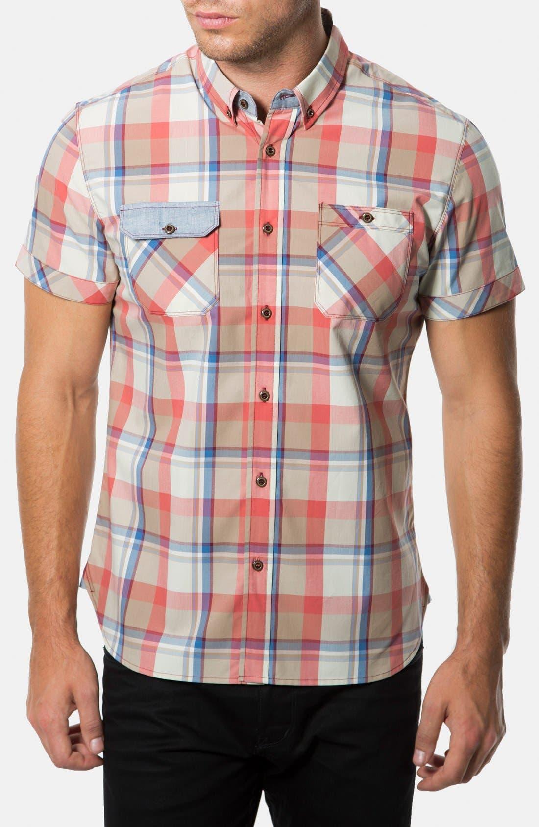 Main Image - 7 Diamonds 'Age of Reason' Short Sleeve Plaid Sport Shirt