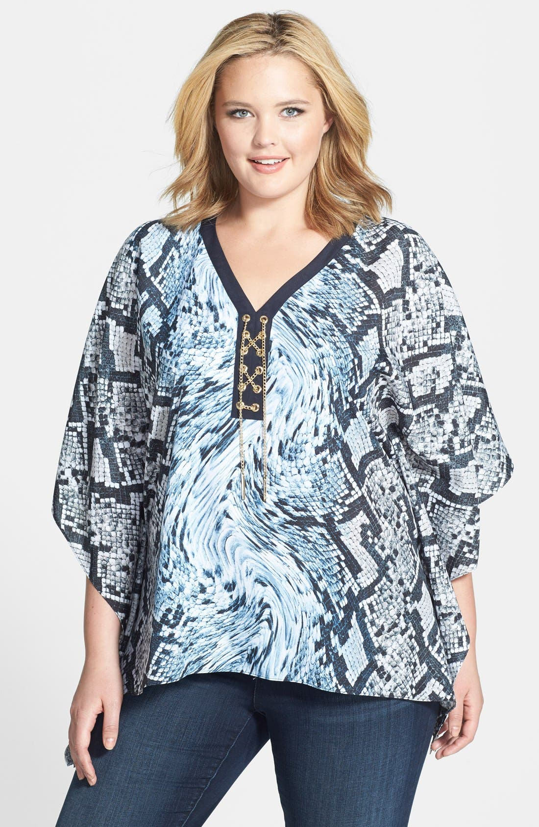 Alternate Image 1 Selected - MICHAEL Michael Kors 'Swirl Snake' Chain Lace-Up Poncho Top (Plus Size)