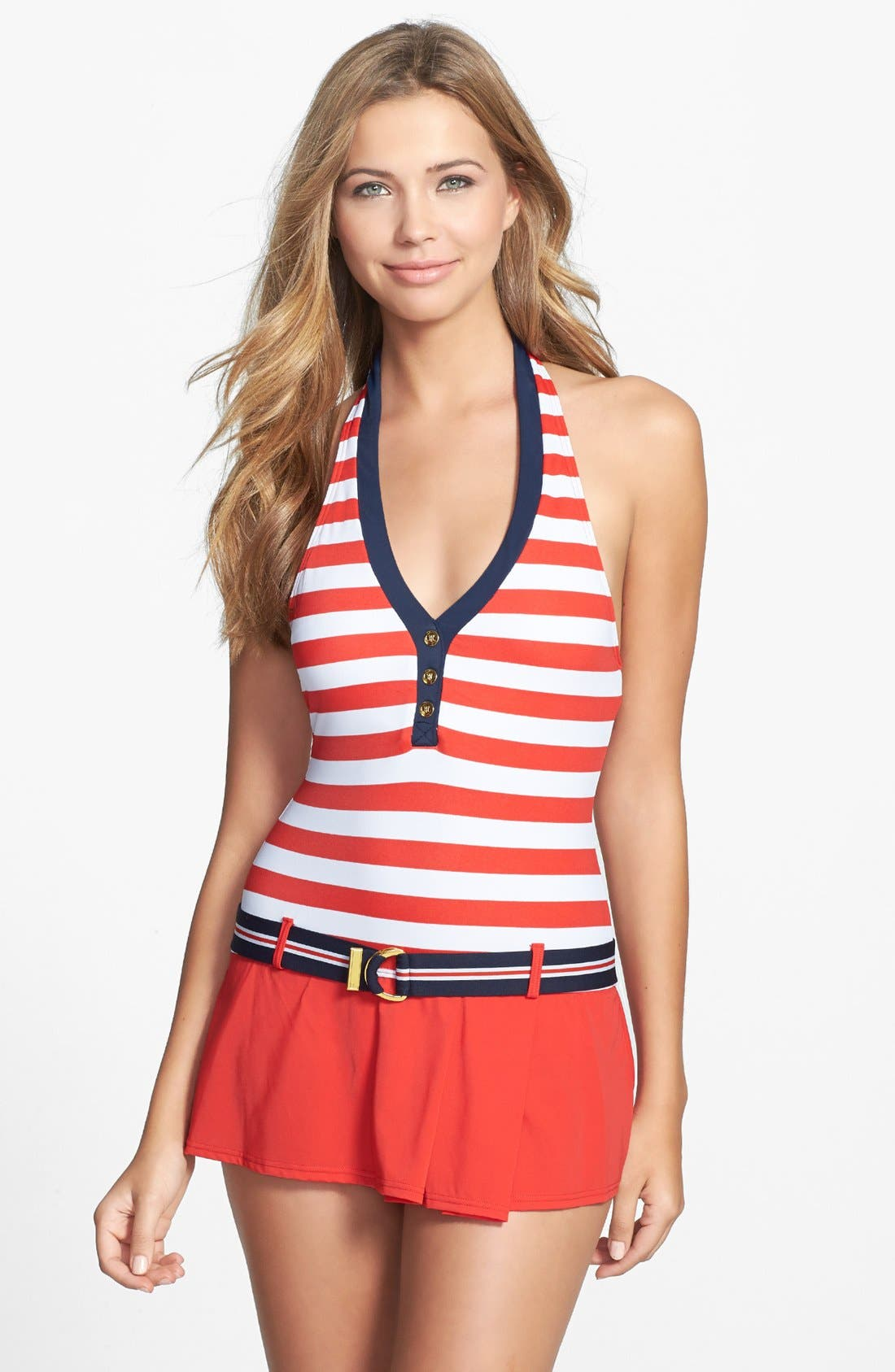 Alternate Image 1 Selected - Tommy Hilfiger Stripe Belted Halter Swimdress