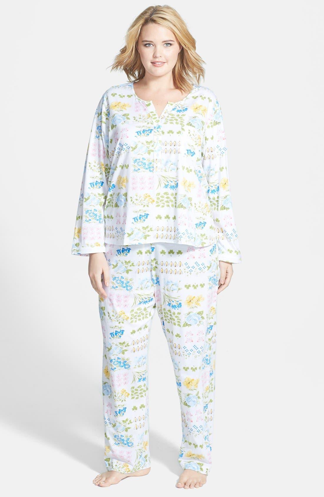 Alternate Image 1 Selected - Carole Hochman Designs 'Butterfly Garden' Pajamas (Plus Size)