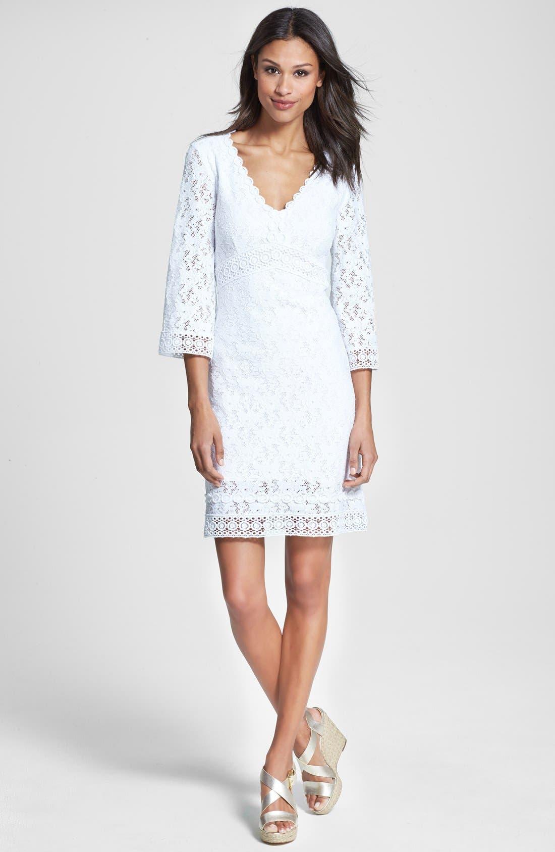 Alternate Image 3  - Laundry by Shelli Segal Back Cutout Lace Shift Dress (Regular & Petite)