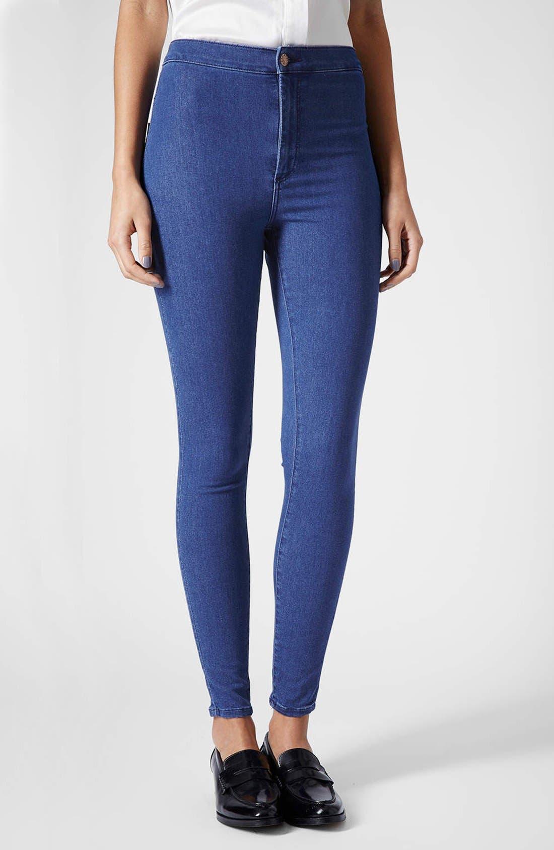 Main Image - Topshop Moto 'Joni' High Rise Skinny Jeans (Regular, Short & Long) (Blue)