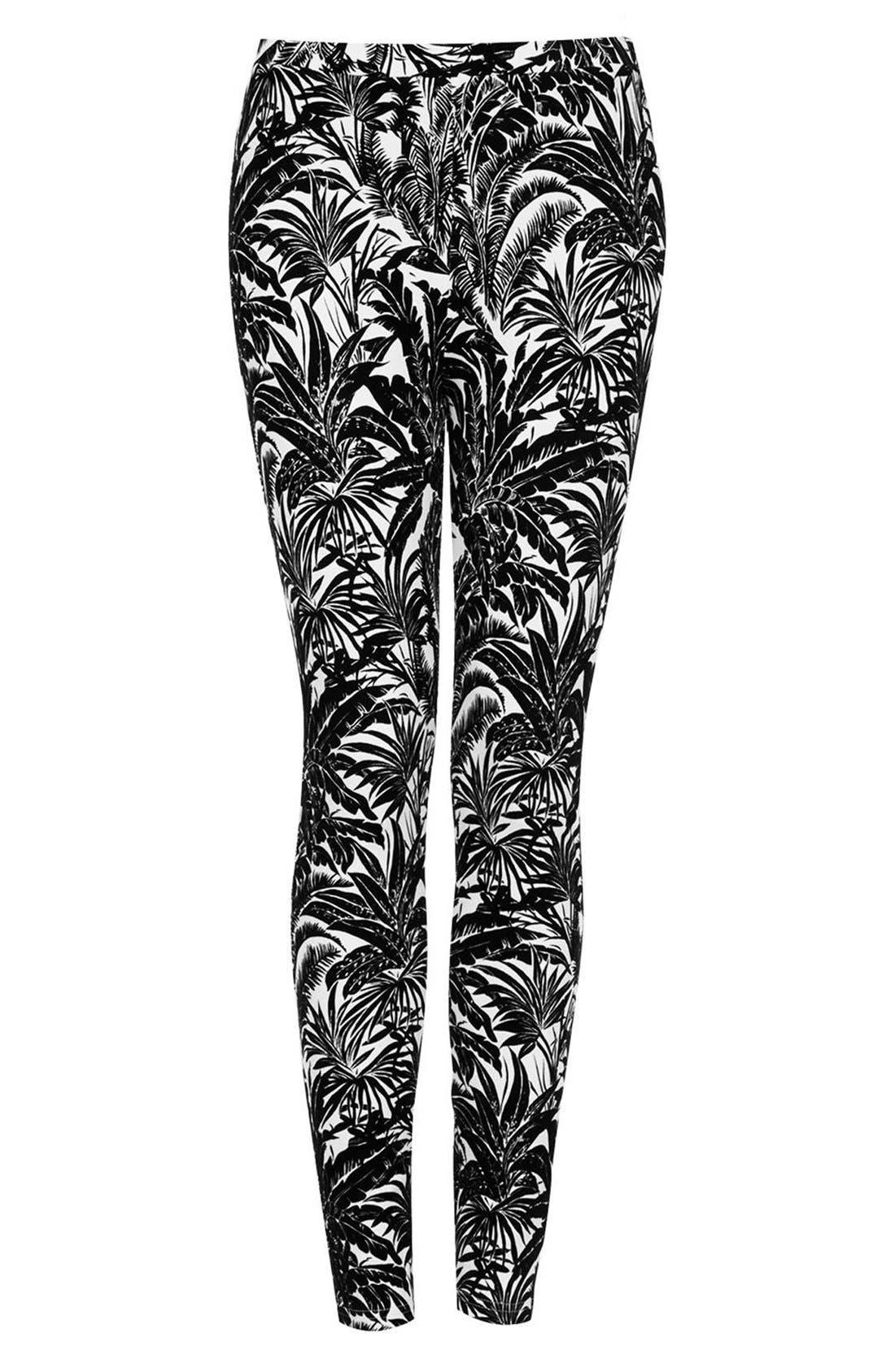 Alternate Image 3  - Topshop Tropical Palm Flocked Leggings