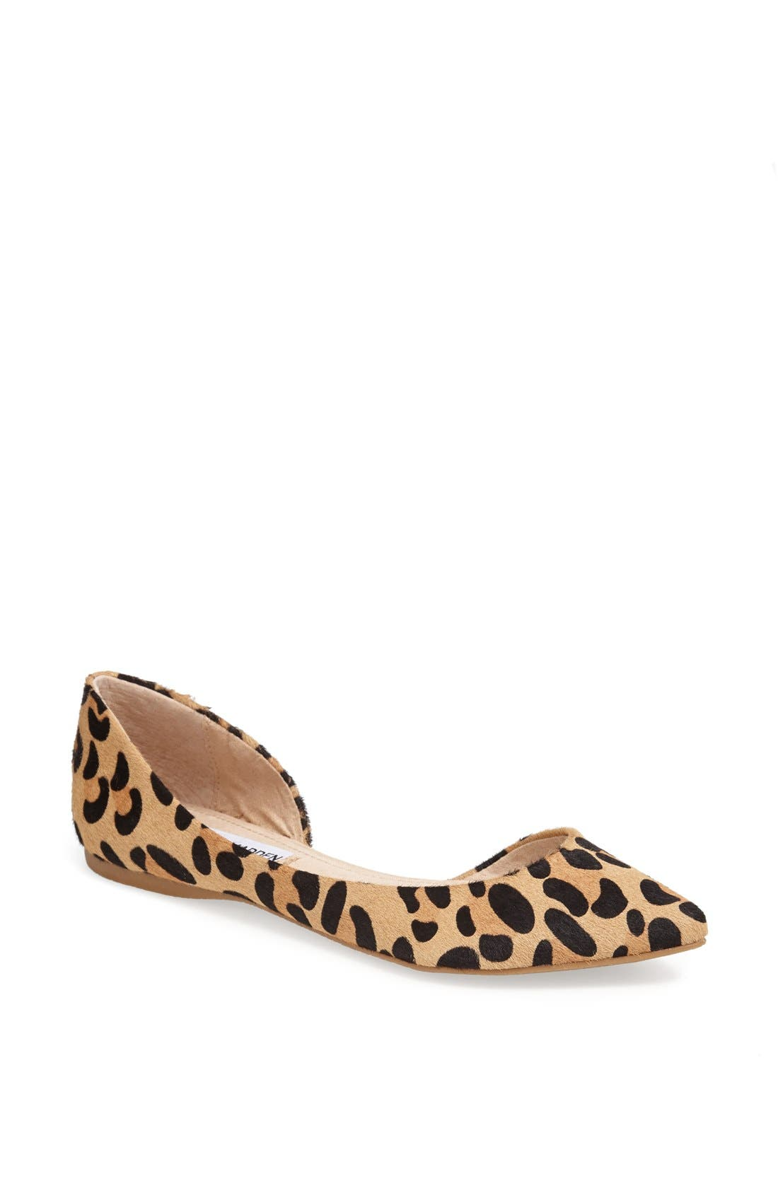Main Image - Steve Madden 'Elusion' Leopard Print Calf Hair Half d'Orsay Flat