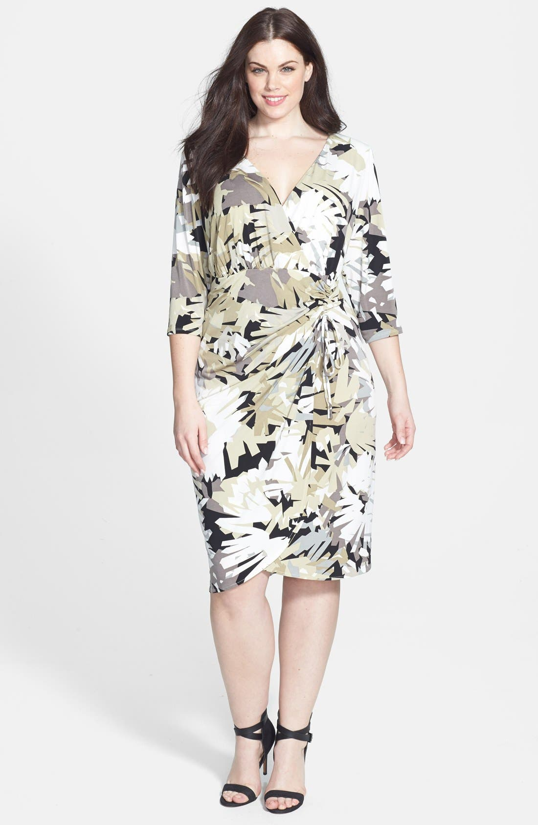 Alternate Image 1 Selected - London Times Print Ruched Sheath Dress (Plus Size)