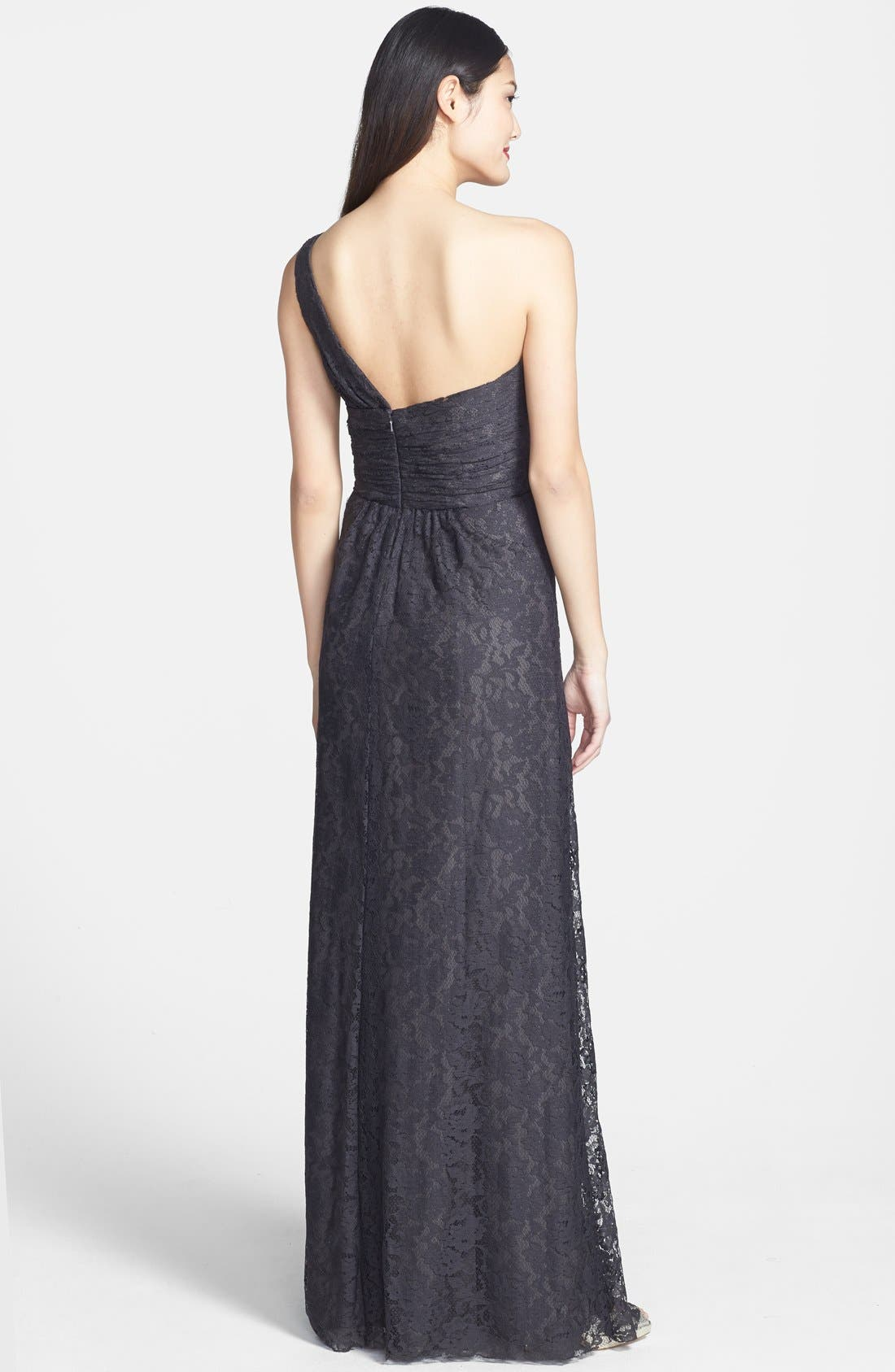 Alternate Image 2  - Amsale One-Shoulder Lace Gown