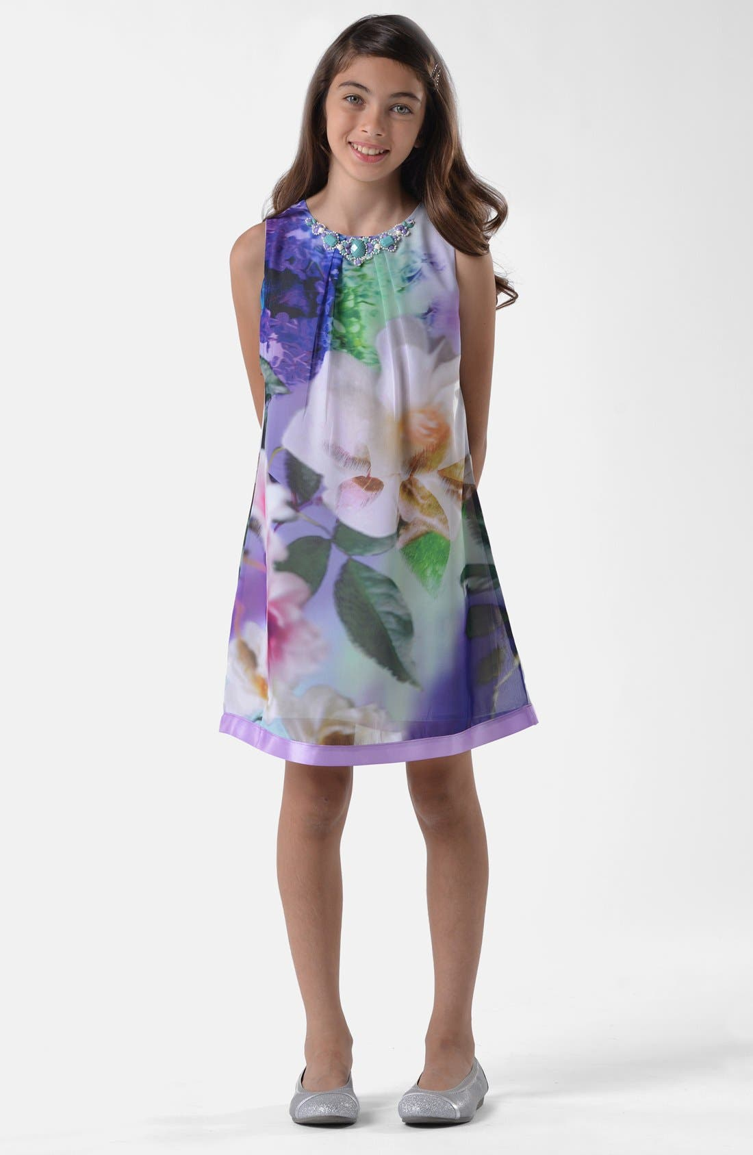 Alternate Image 1 Selected - BLUSH by Us Angels Floral Trapeze Dress (Big Girls)