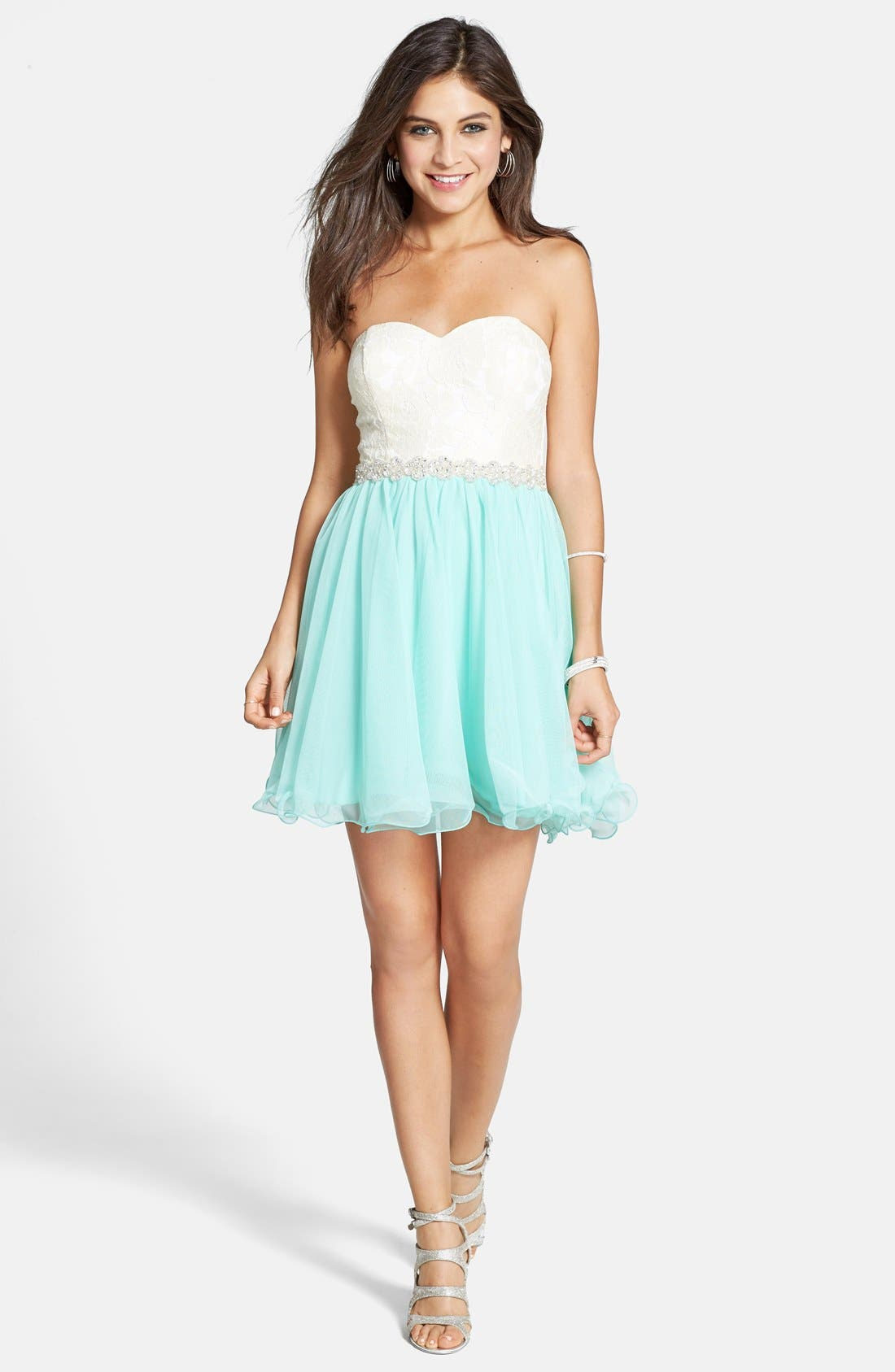Alternate Image 1 Selected - Way-In Strapless Lace Bodice Party Dress (Juniors)