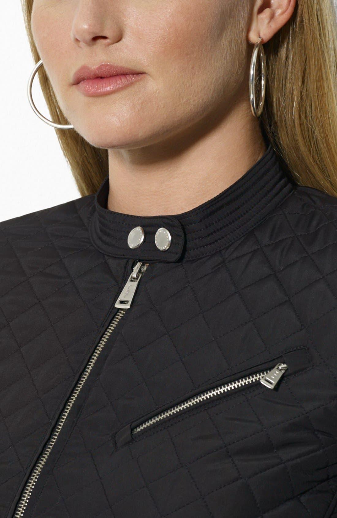 Alternate Image 3  - Lauren Ralph Lauren Quilted Hip Length Moto Jacket (Plus Size)
