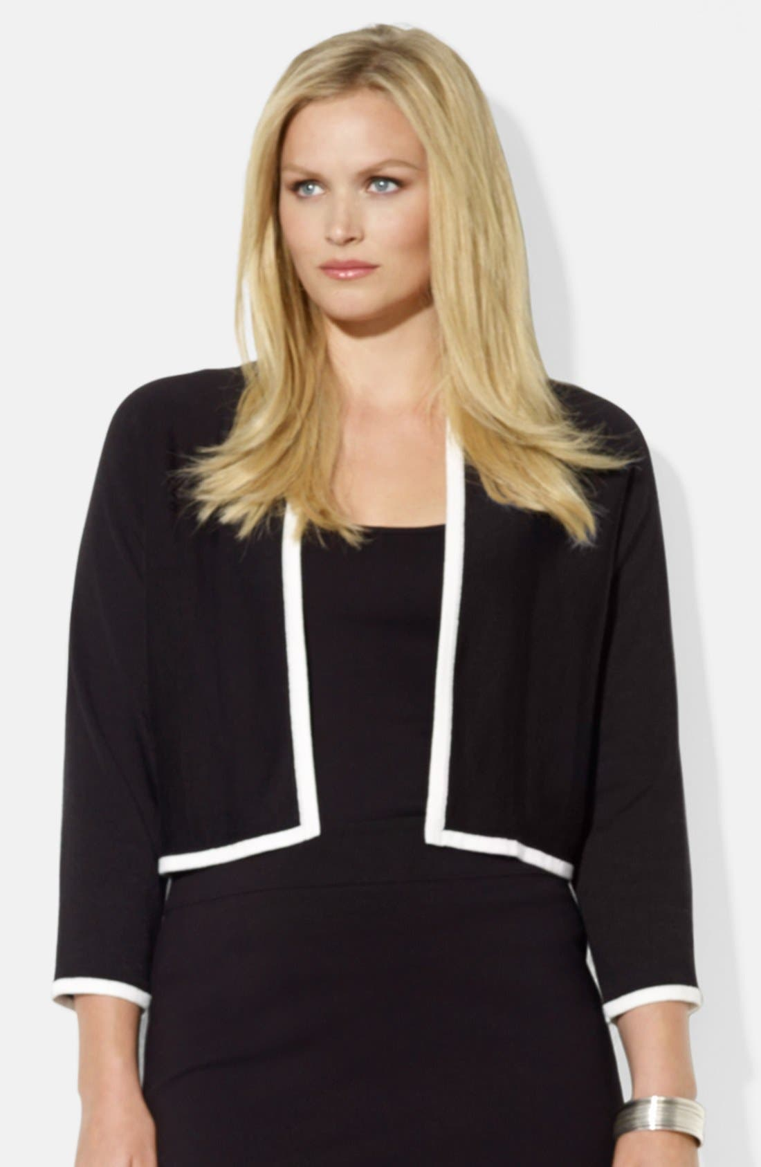 Main Image - Lauren Ralph Lauren Three Quarter Sleeve Shrug (Plus Size)