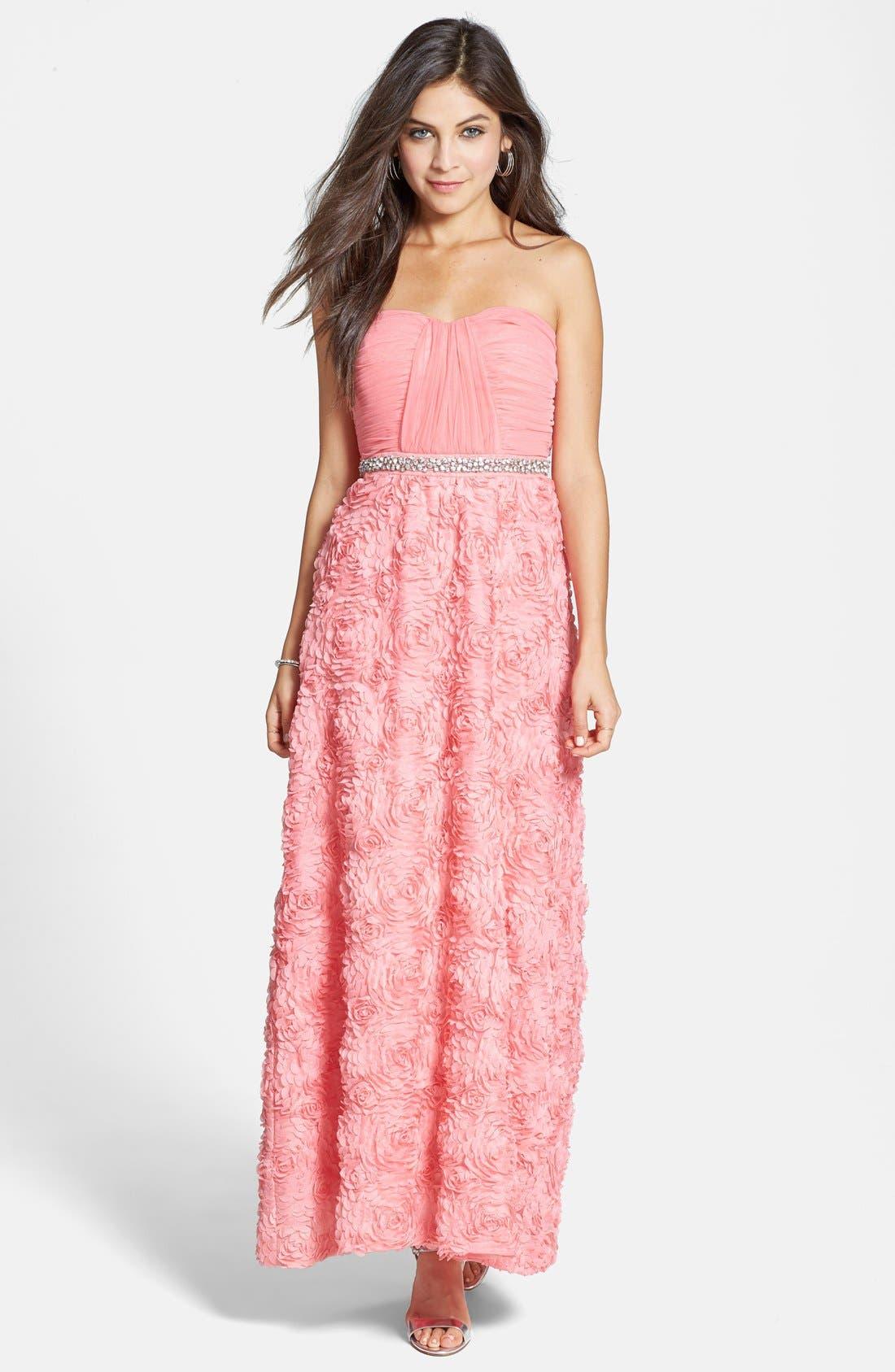 Main Image - As U Wish 'Quinn' Embellished Rosette Gown (Juniors)