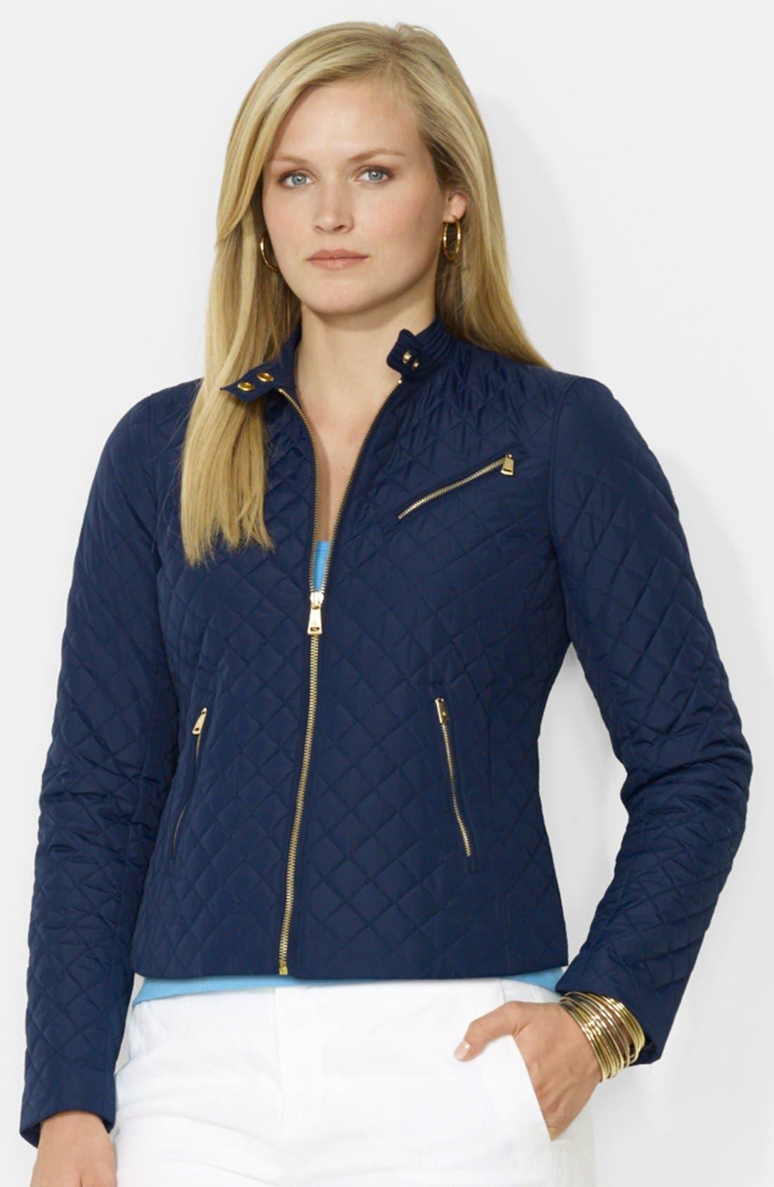 Alternate Image 1 Selected - Lauren Ralph Lauren Quilted Zip Front Hip Length Jacket (Plus Size)
