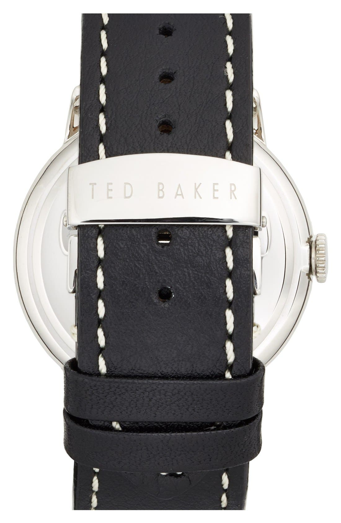 Alternate Image 2  - Ted Baker London Round Leather Strap Watch, 42mm