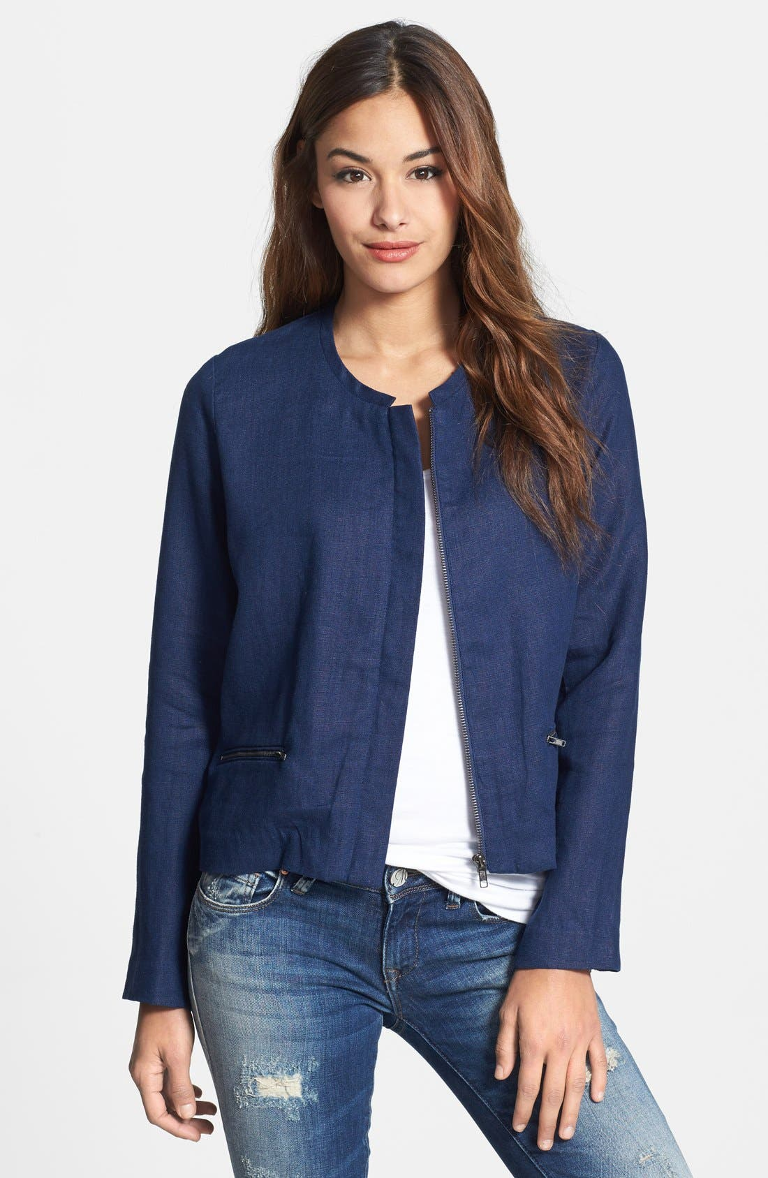 Main Image - Gibson Collarless Linen Jacket