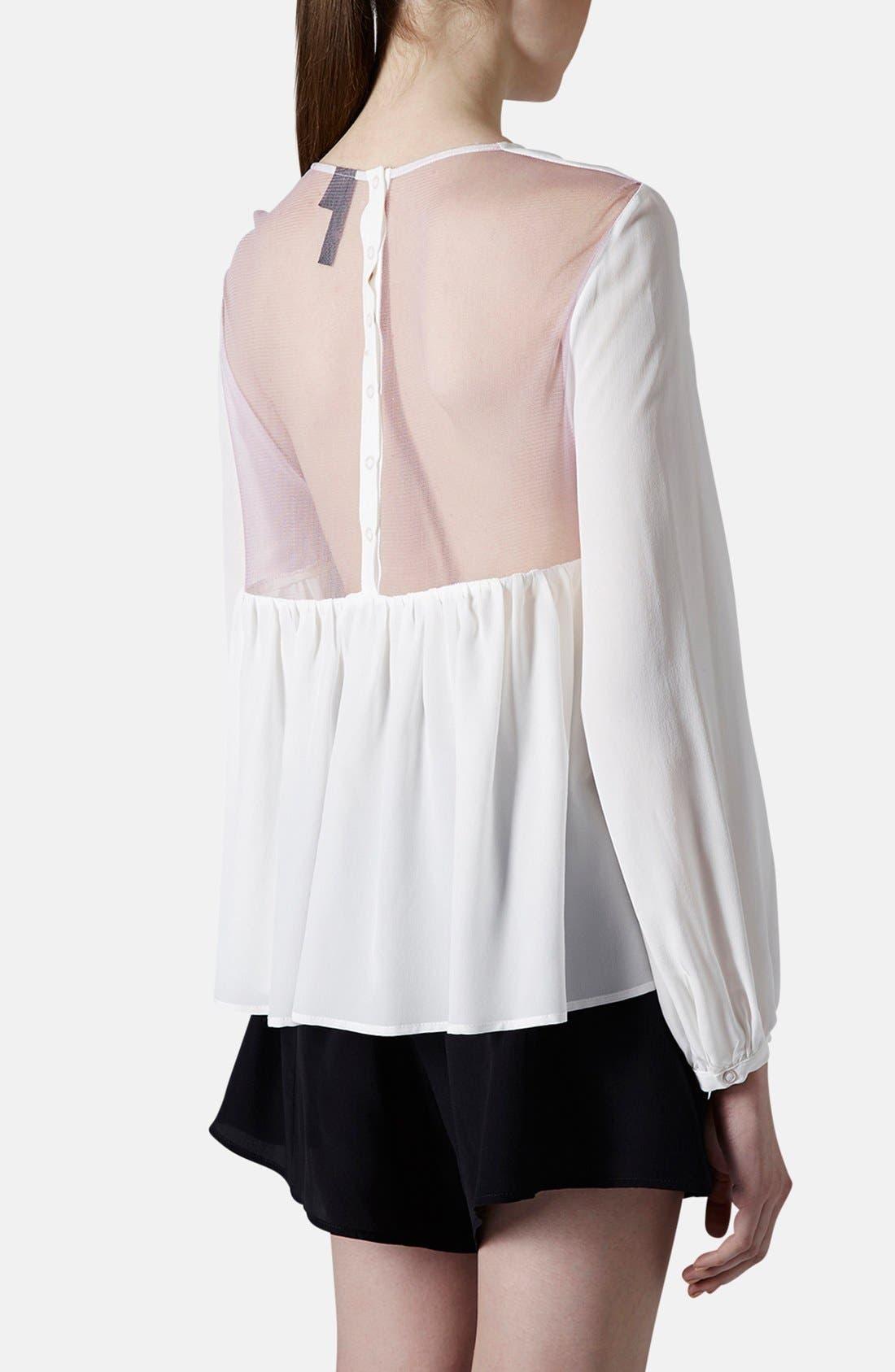 Alternate Image 2  - Topshop Boutique Tulle Back Silk Blouse