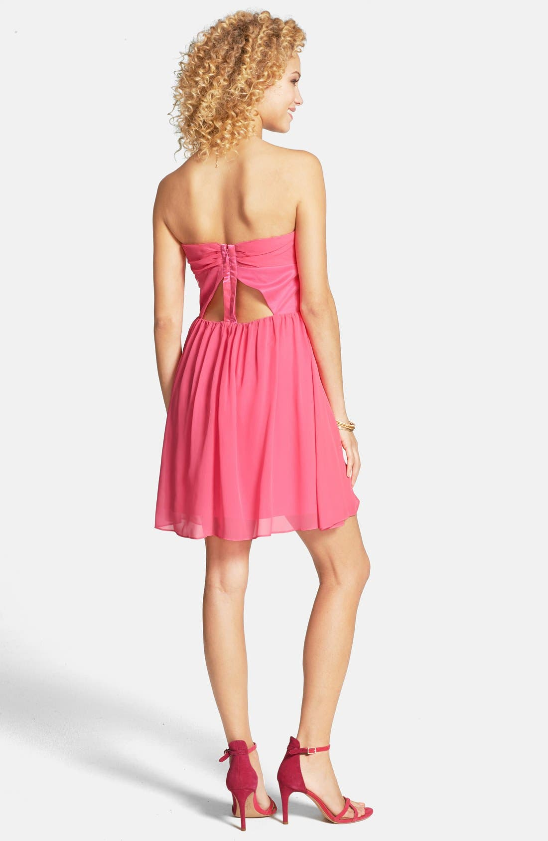 Alternate Image 2  - Hailey Logan Pleat Cutout Strapless Dress (Juniors)