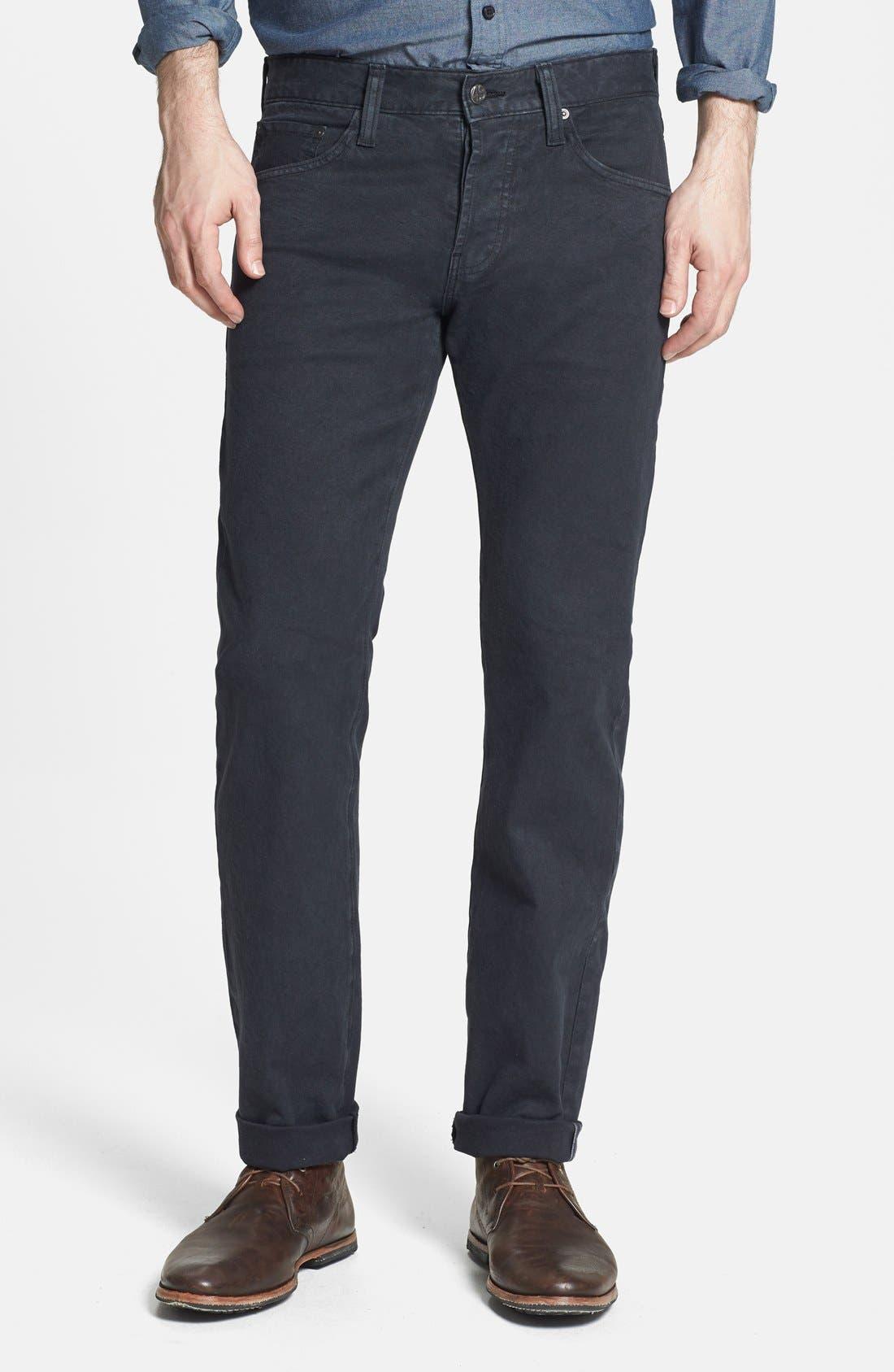 Main Image - AG 'Matchbox' Slim Fit Selvedge Jeans (True Black)