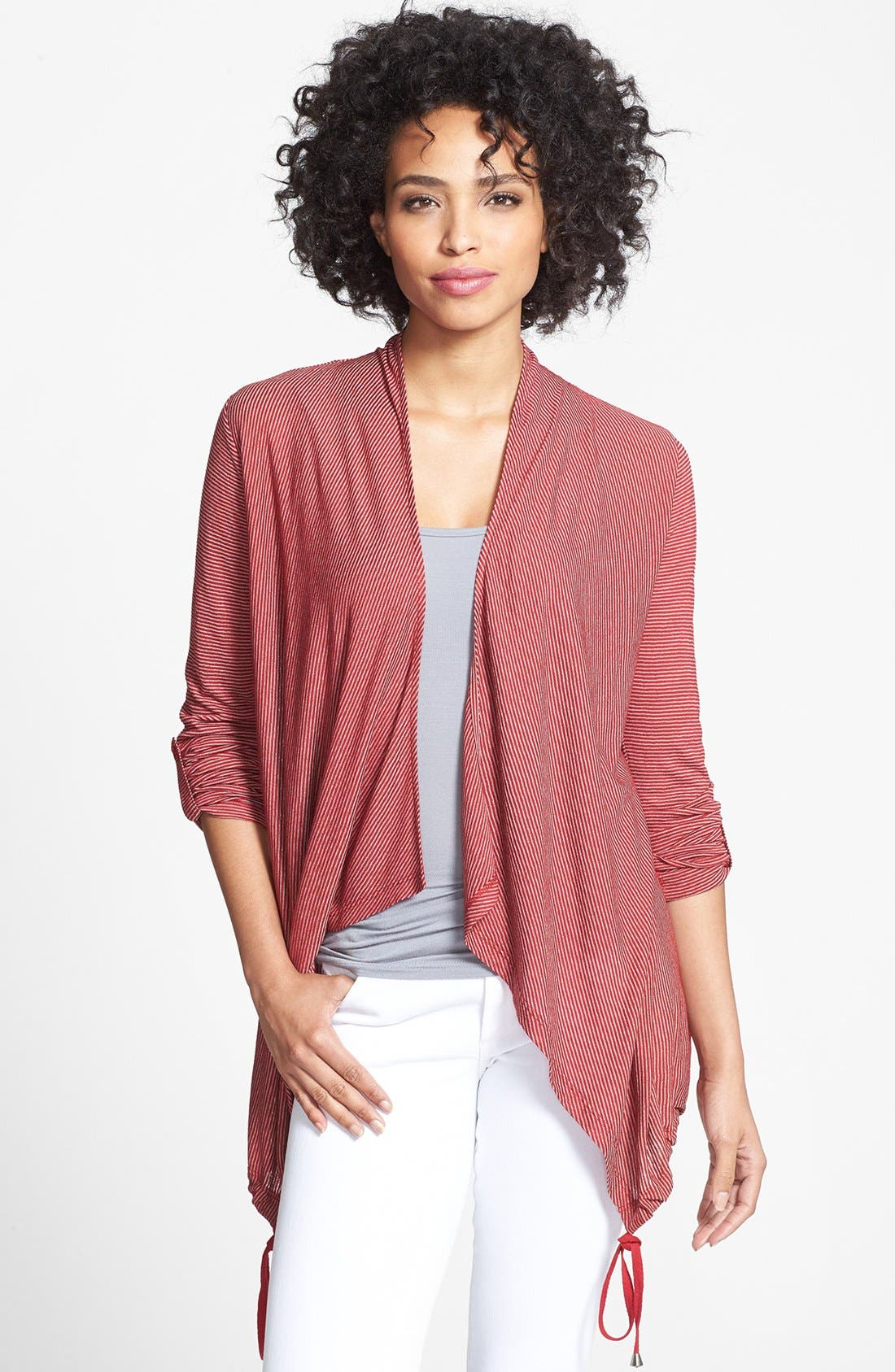 Alternate Image 1 Selected - Pleione Drawstring Hem Drape Front Cardigan