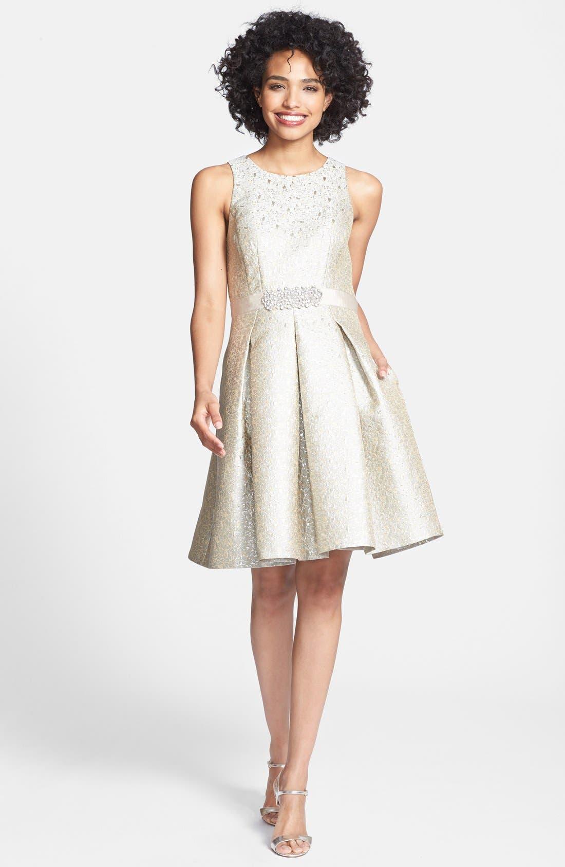 Alternate Image 3  - Eliza J Embellished Metallic Jacquard Fit & Flare Dress