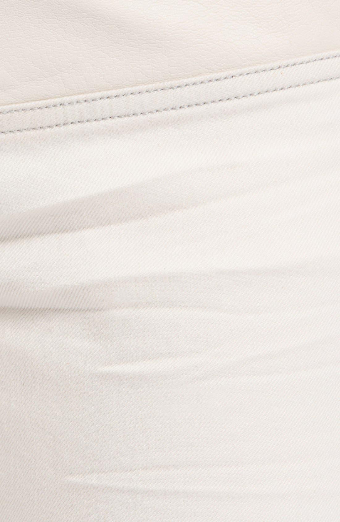 Alternate Image 3  - maje Leather Panel Stretch Skinny Jeans (Ecru)