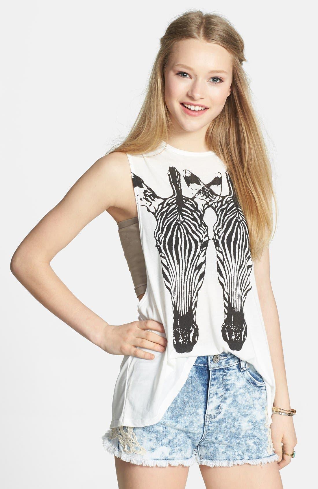 Main Image - Volcom 'Breezy' Zebra Print Muscle Tank (Juniors)