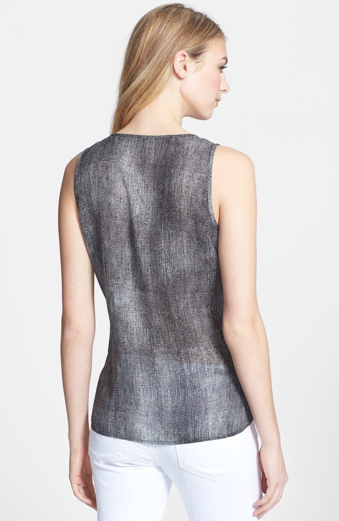 Alternate Image 2  - Eileen Fisher Print Scoop Neck Silk Shell (Regular & Petite)