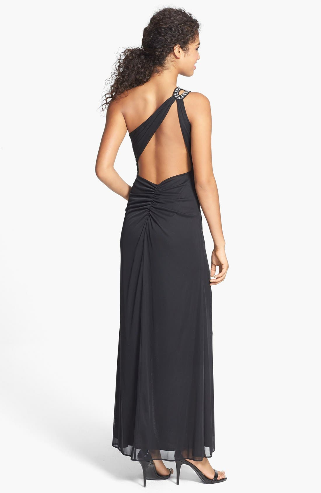 Alternate Image 2  - Hailey Logan Embellished Cutout One-Shoulder Gown (Juniors)