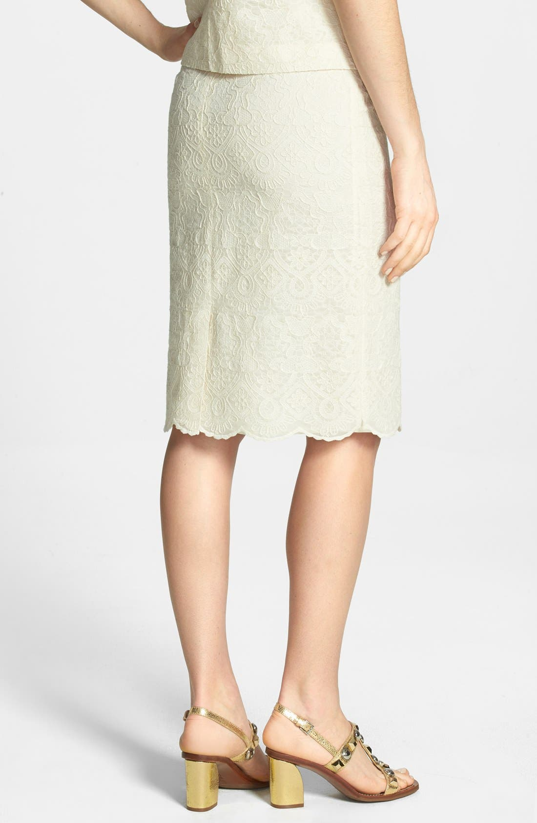 Alternate Image 2  - Tory Burch Lace Embroidered Pencil Skirt