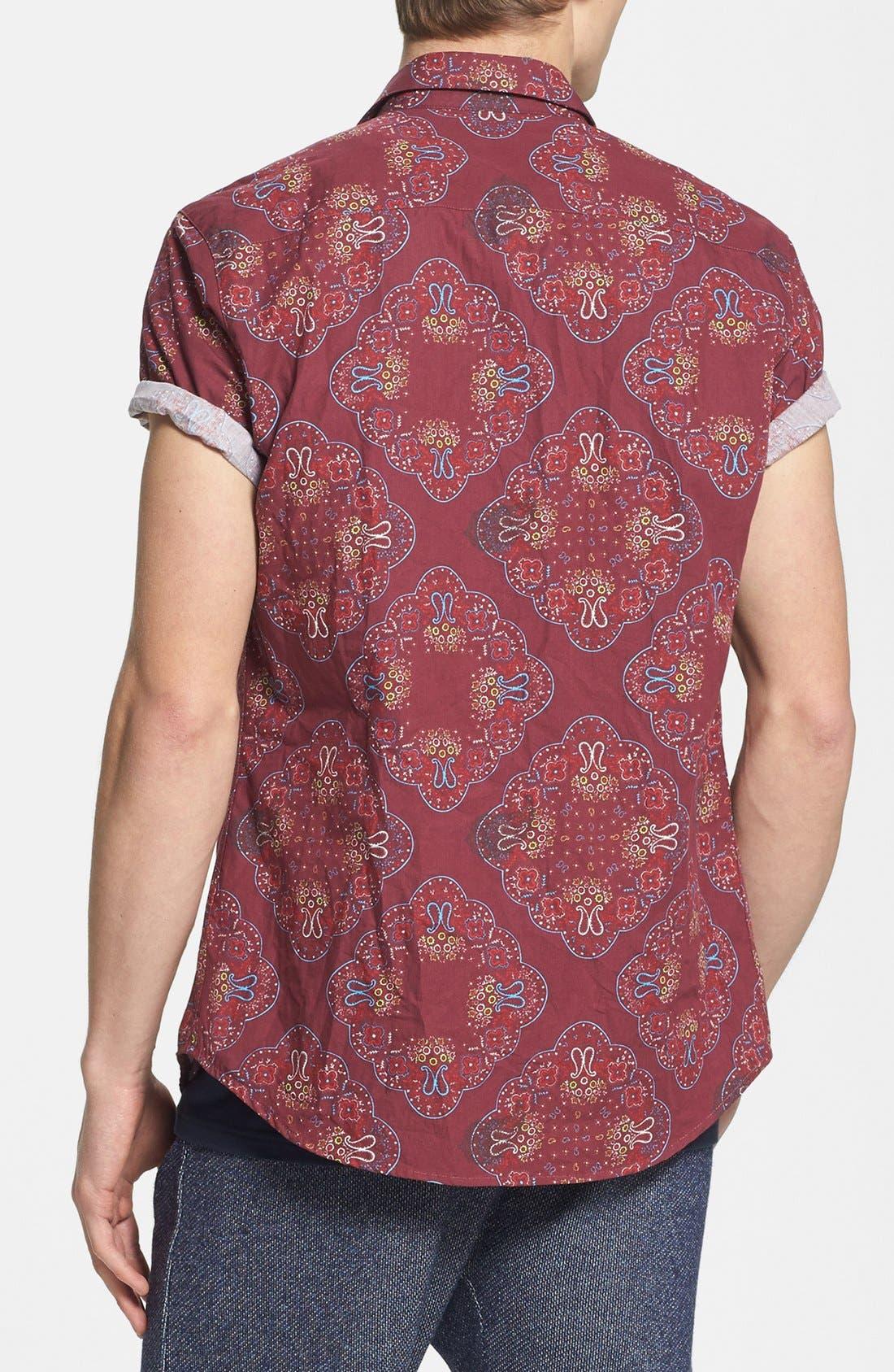 Alternate Image 2  - Topman Slim Fit Short Sleeve Paisley Print Shirt