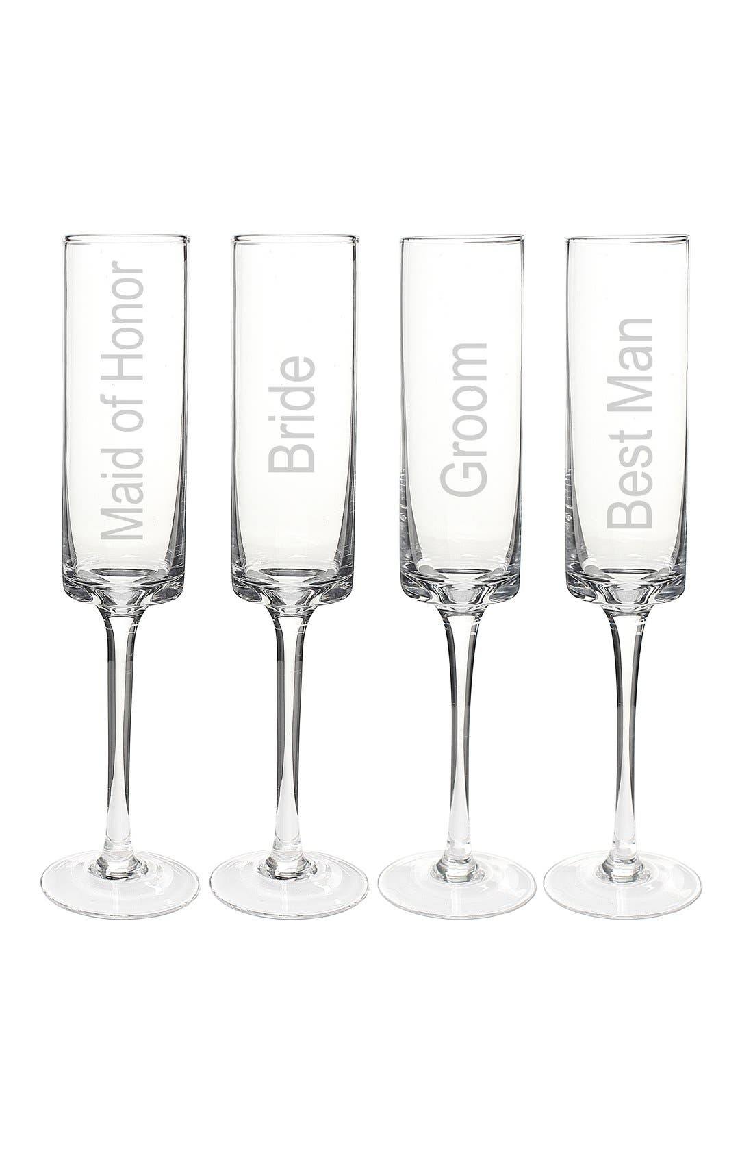 Main Image - Cathy's Concepts 'Wedding Party' Contemporary Champagne Flutes (Set of 4)