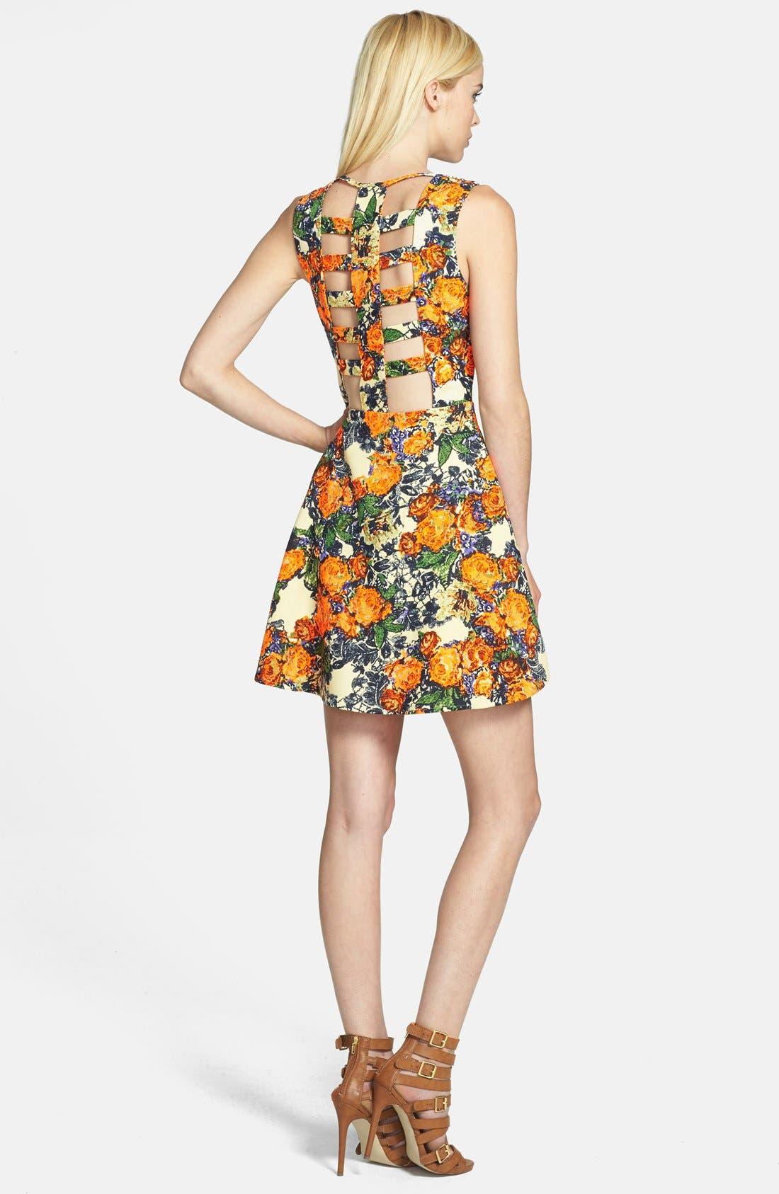 Alternate Image 2  - JOA Cage Back Floral Fit & Flare Dress