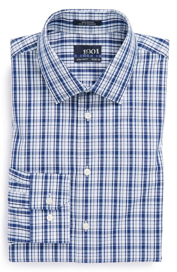 1901 extra trim fit plaid dress shirt nordstrom for Extra trim fit dress shirt