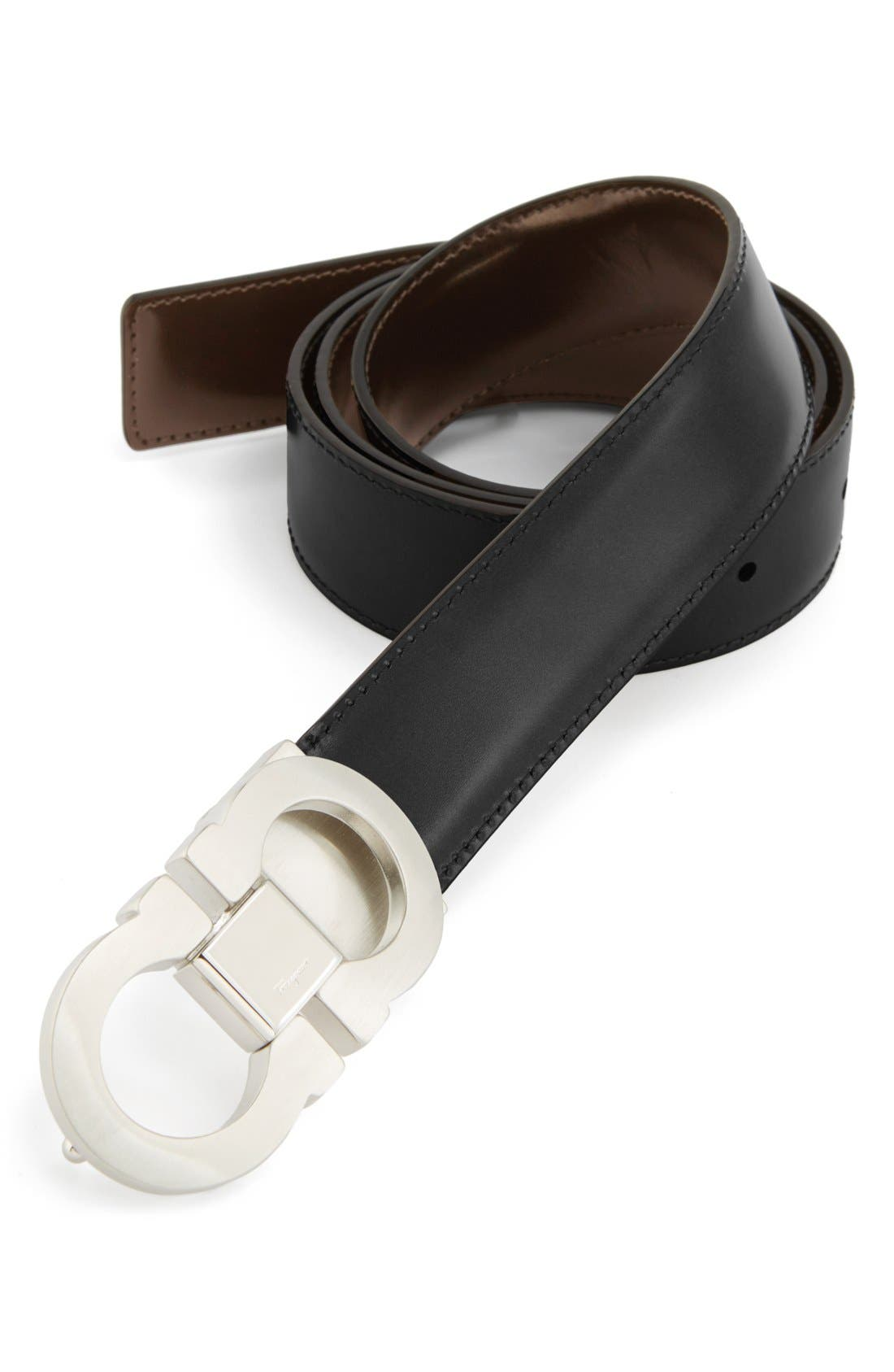 Alternate Image 1 Selected - Salvatore Ferragamo Double Gancio Reversible Leather Belt
